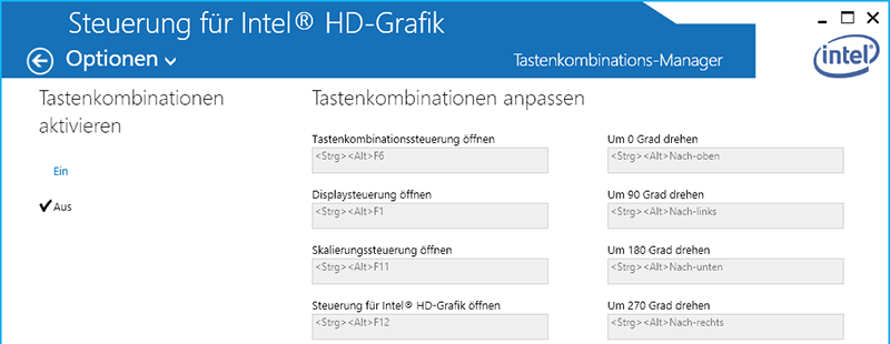 Intel HD Tastenkombinations-Manager