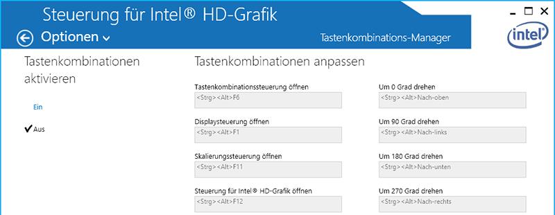Bildschirmausrichtung per Shortcut bei Intel HD Grafikkarten deaktivieren