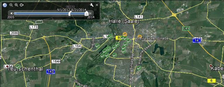 GC-Daten in Google Earth mit Zeitachse